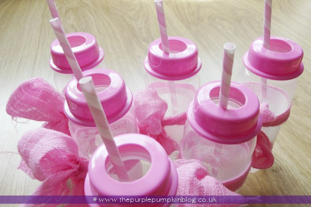 Decorated Drinks Baby Bottles for a Baby Shower at The Purple Pumpkin Blog