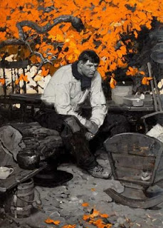 Dean Cornwell showing the square touch painting technique