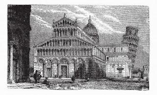 Grabado de Torre de Pisa