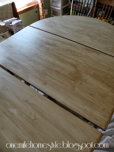 Dining table with finishing glaze added