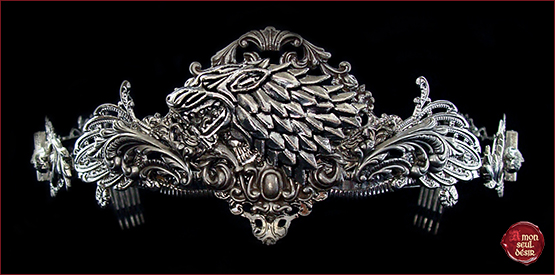 couronne loup game of thrones jon snow sansa stark arya nymeria wolf crown medieval circlet House Stark night's watch