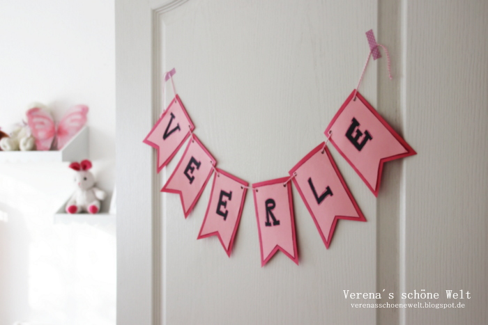 Ideen f r das kinderzimmer diy namensschilder diy banner ideas for kids room verena s - Namensschild tur kinderzimmer ...