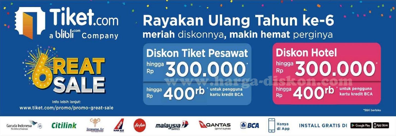 Promo Tiket Com Terbaru Diskon Tiket Pesawat Dan Hotel Periode 24 31 Agustus 2017 Harga Diskon