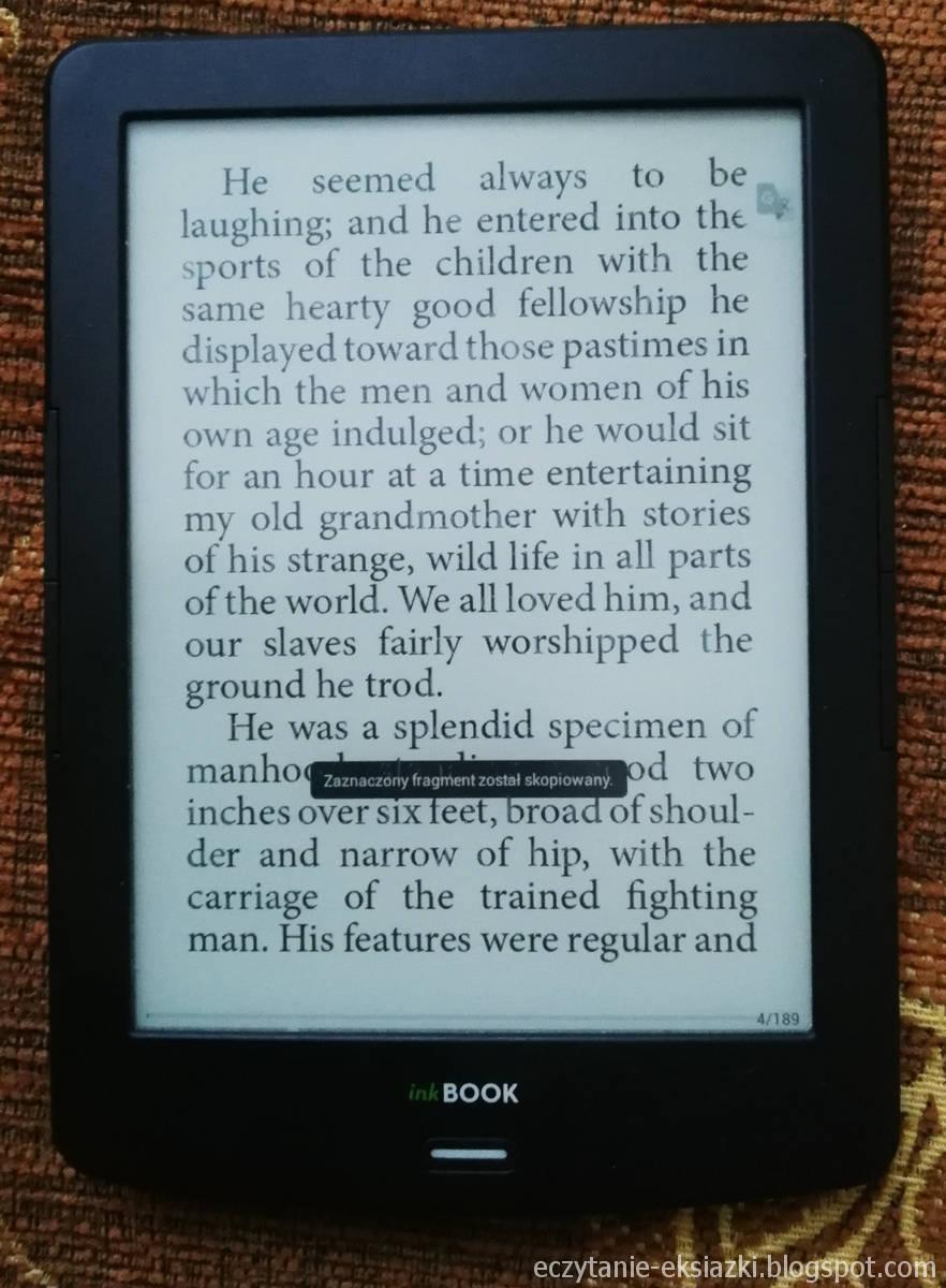 InkBOOOK LUMOS - po skopiowaniu słowa na ekranie pojawi się przycisk aplikacji Google Translate