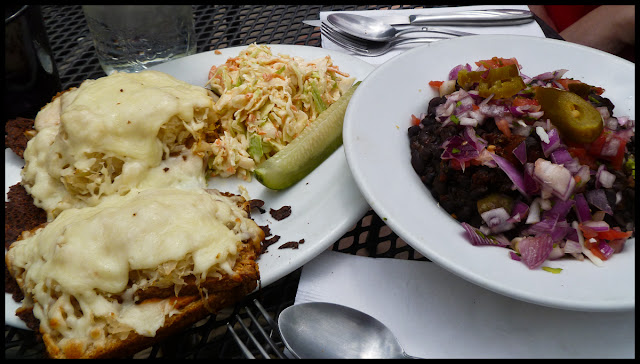 Rosendale Cafe. Tempeh Reuben and black bean chili with brown rice.