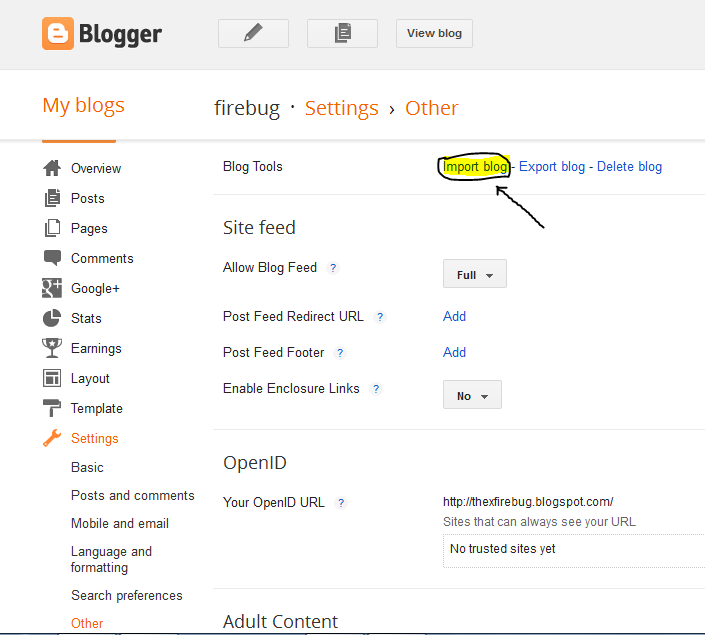Firebug: Hack a blogspot website