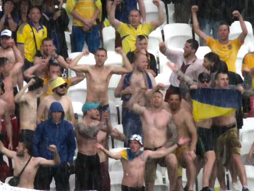 Ukraine fans in the rain, Lyon.