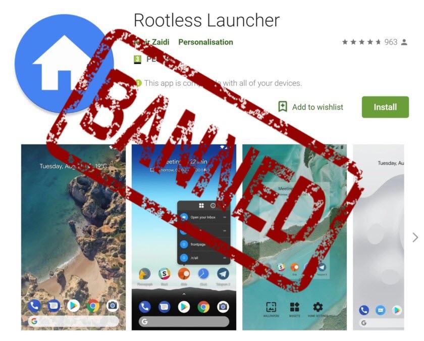 Google remove Rootless Pixel Launcher da Play Store devido a uma