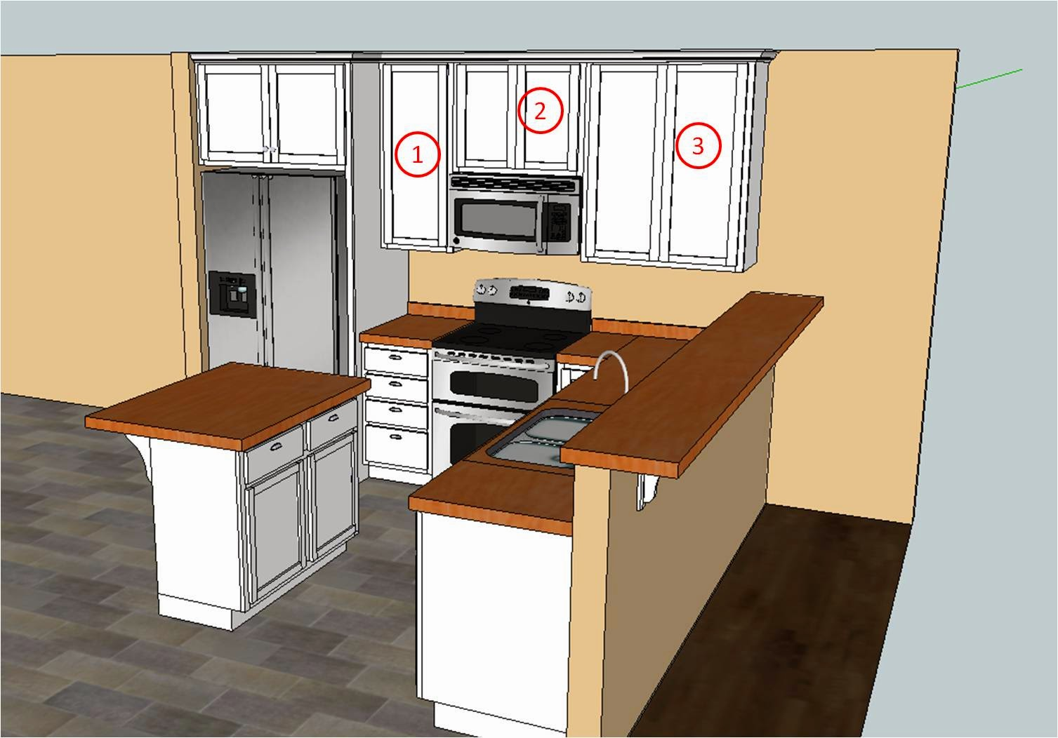 upper kitchen cabinet build upper kitchen cabinets To start off the project I drew up the three kitchen cabinets in SketchUp so I could figure out how much material I was going to need and to get a good