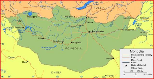Gambar Peta Mongolia