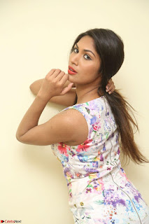 Nishi Ganda stunning cute in Flower Print short dress at Tick Tack Movie Press Meet March 2017 022.JPG