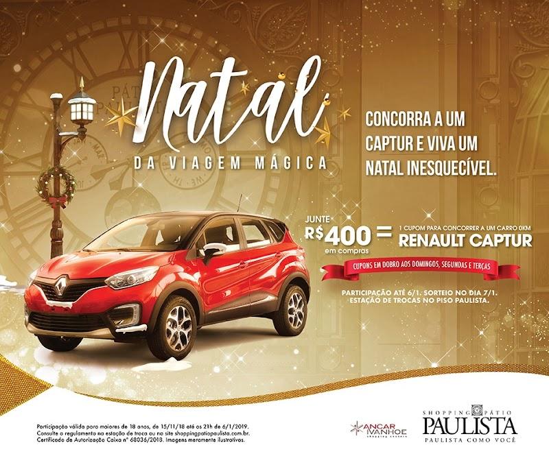 Shopping Pátio Paulista sorteia um carro Renault Captur neste Natal