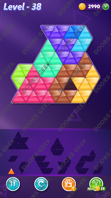 Block! Triangle Puzzle 9 Mania Level 38 Solution, Cheats, Walkthrough for Android, iPhone, iPad and iPod
