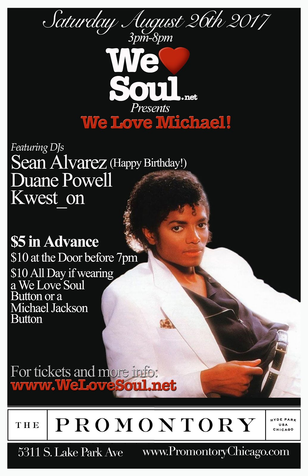 Sat 8/26: We Love Michael Day Party @The Promontory
