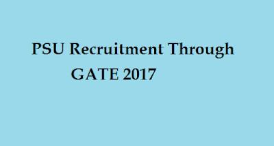 PSU recruitment through GATE 2017 Score