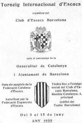 Portada del folleto de promoción del Torneo Internacional de Ajedrez Barcelona 1935