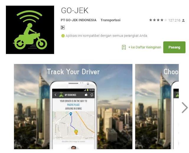Silahkan instal aplikasi gojek ini di androidmu.