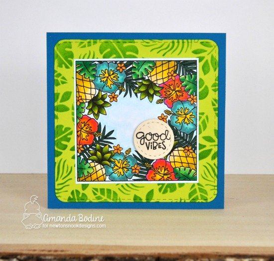 Good Vibes Summer Card by Amanda Bodine | Tropical Fringe Stamp Set, Tropical Leaves Stencil and Frames Squared Die Set by Newton's Nook Designs #newtonsnook #handmade