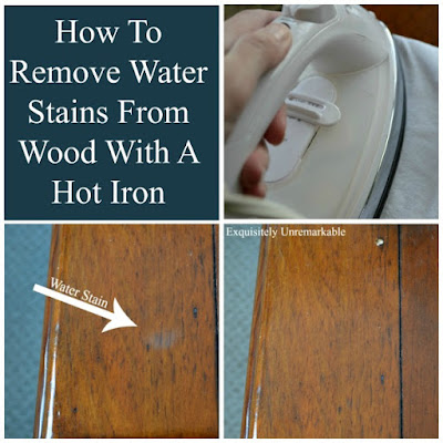 How to remove water stains from wood with a hot iron.