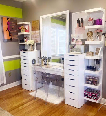 white dressing table design with drawers and shelves for modern bedrooms 2018