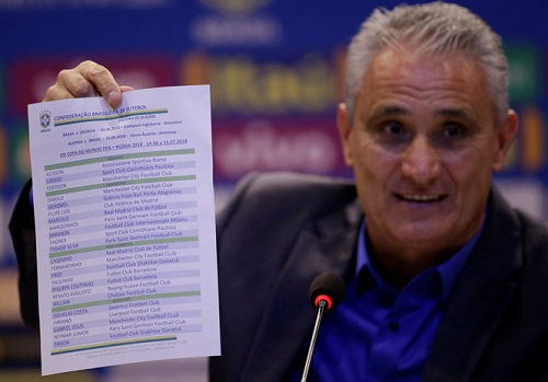 Brazil hoàn tất danh sách 23 cầu thủ tham gia World Cup nộp lên FIFA