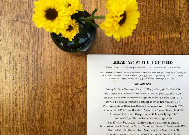 breakfast at The High Field in Edgbaston Birmingham