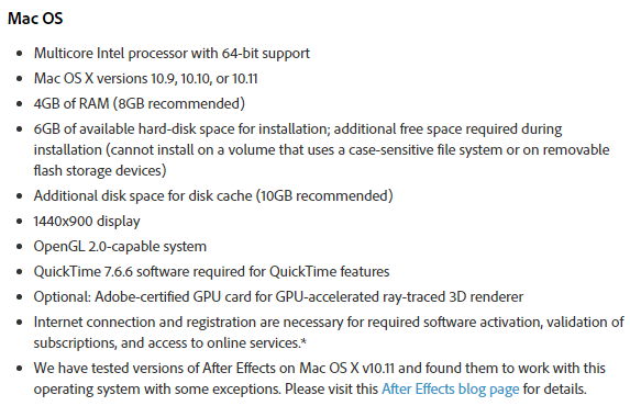 System Requirements Adobe After Effect CC 2015