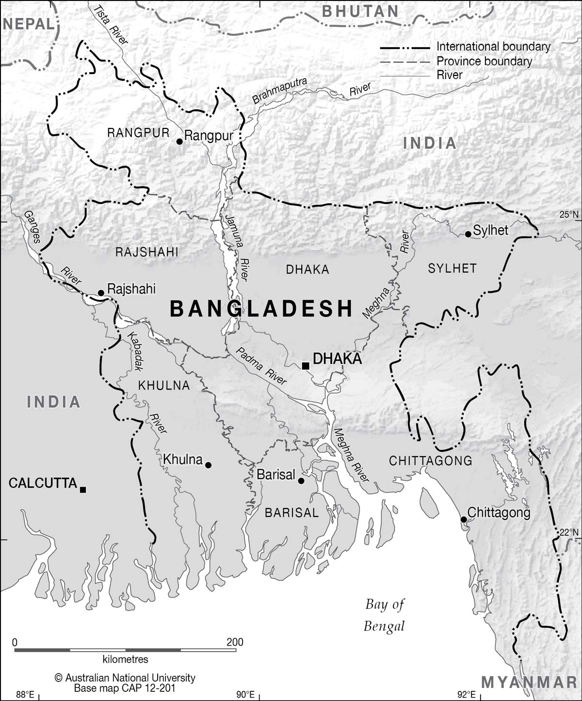 Elevation Map Bangladesh