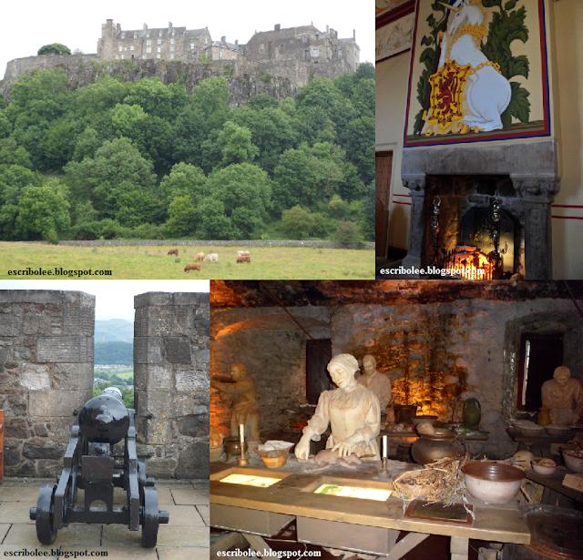 Viaje a escocia: día 7: Castillo de Stirling con Heilan Coo pastando (sup izq), cañón con vistas al monumento a William Wallace (inf izq) e interiores del castillo (der)