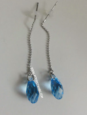 handmade swarovski earrings light blue