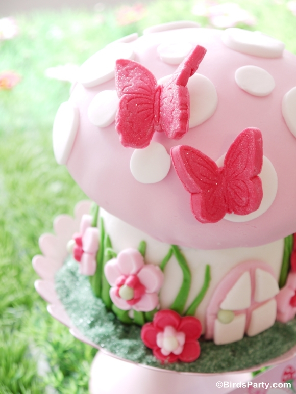 Pink Pixie Fairy Birthday Party Cake - BirdsParty.com