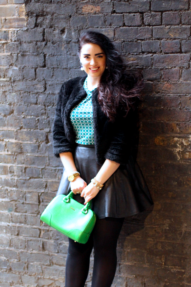 Green and black outfit - London fashion blog