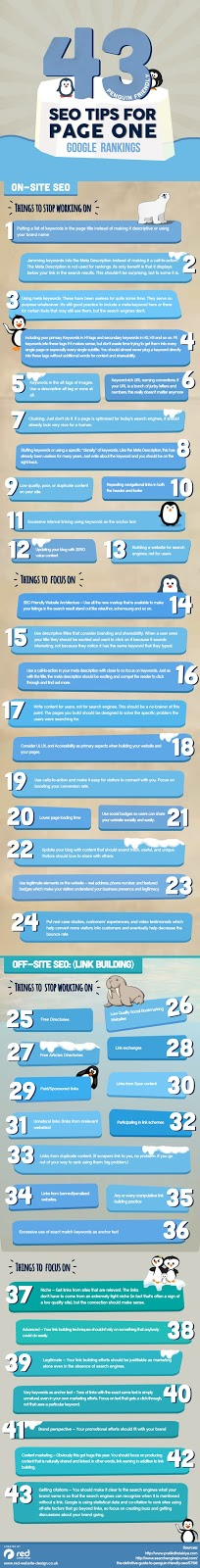 43 SEO Tips For Page One Google Rankings Infographic