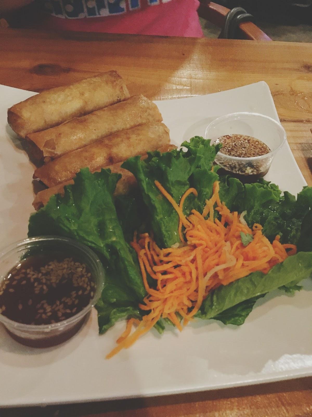 vegetarian egg rolls at Hughie's - A restaurant/bar in Houston, Texas