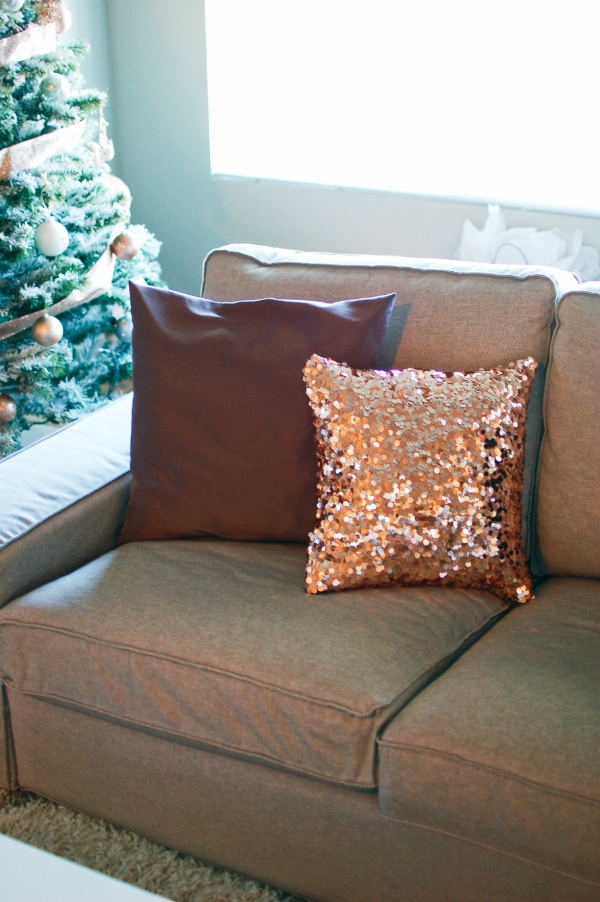 A sequin pillow is a great glam Christmas decoration