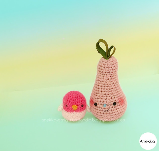 little chick, little bird and pink pear