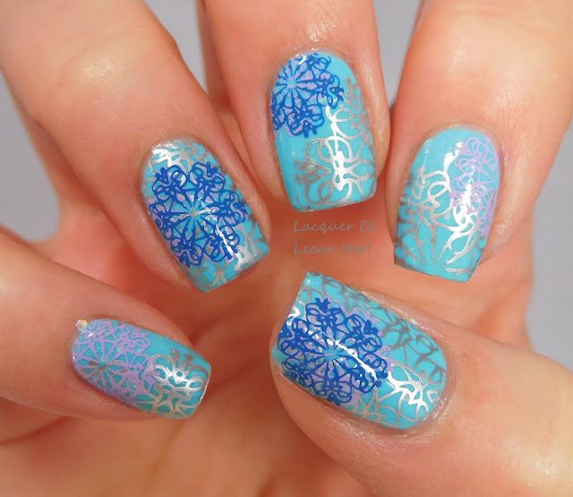 UberChic Beauty 13-01 over Spellbound Nails Let It Snow, stamped with Messy Mansion polishes