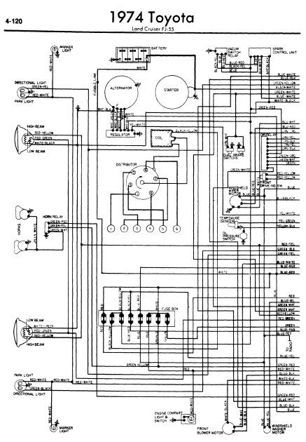 repairmanuals: Toyota Land Cruiser FJ55 1974 Wiring Diagrams