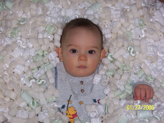Chillin' in Peanuts; now that's a fun thing to do with packing peanuts.