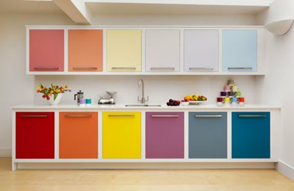 Simple Kitchen Design In Bright Color Combinations