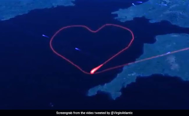 Heart made in the sky on Valentine's Day, this flight did this job