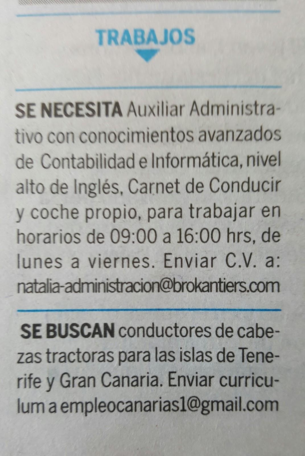 2 Ofertas Empleo En Tenerife: Auxiliar Administrativo Y Conductores
