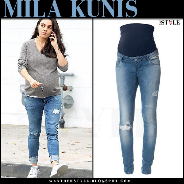 Mila Kunis in ripped skinny maternity jeans by Seraphine what she wore maternity fashion