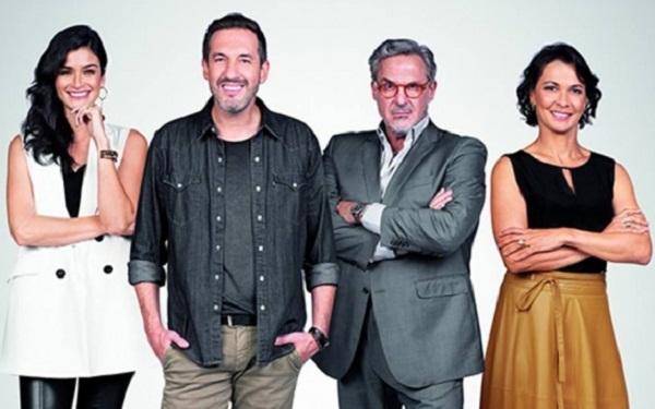 Carol Ribeiro, Alê Costa, Fabrizio Fasano e Mônica Burgos - (Imagem: Reprodução/Band)