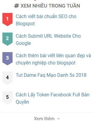 Cách Tạo Hiệu Ứng Popular Posts (bài đăng phổ biến) Đẹp Và Chuyên Nghiệp cho blogspot