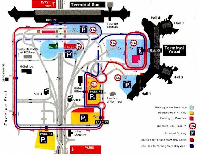 Plan de l'aéroport d'Orly Sud et Ouest
