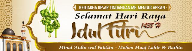 Contoh Spanduk, Banner ucapan Idul Fitri 2018 warna Coklat Elegan