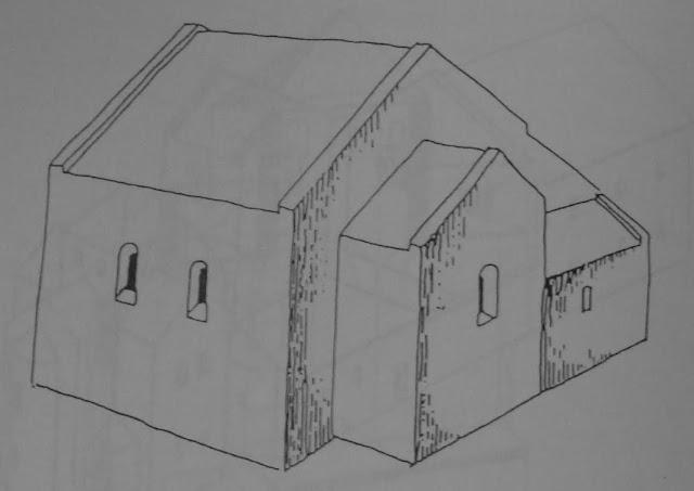 rycina przedstawiająca kościół grodowy na Ostrowie Lednickim