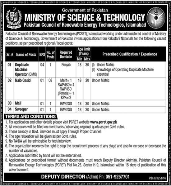 Ministry of Science & Technology Pakistan 10+ Jobs