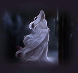 Un fantasma illustrato in una delle vecchie domande per lo Smistamento, in Pottermore